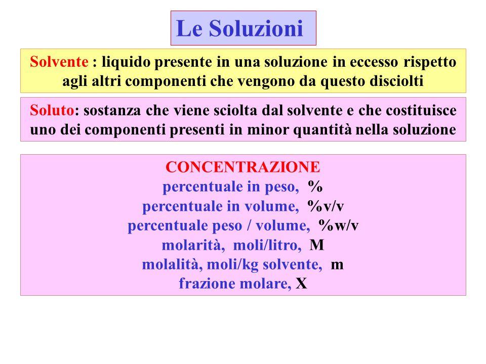 Le Soluzioni Solvente : liquido presente in una soluzione in eccesso rispetto agli altri componenti che vengono da questo disciolti.