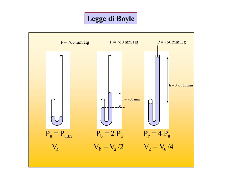 Legge di Boyle Pa = Patm Pb = 2 Pa Pc = 4 Pa Va Vb = Va /2 Vc = Va /4