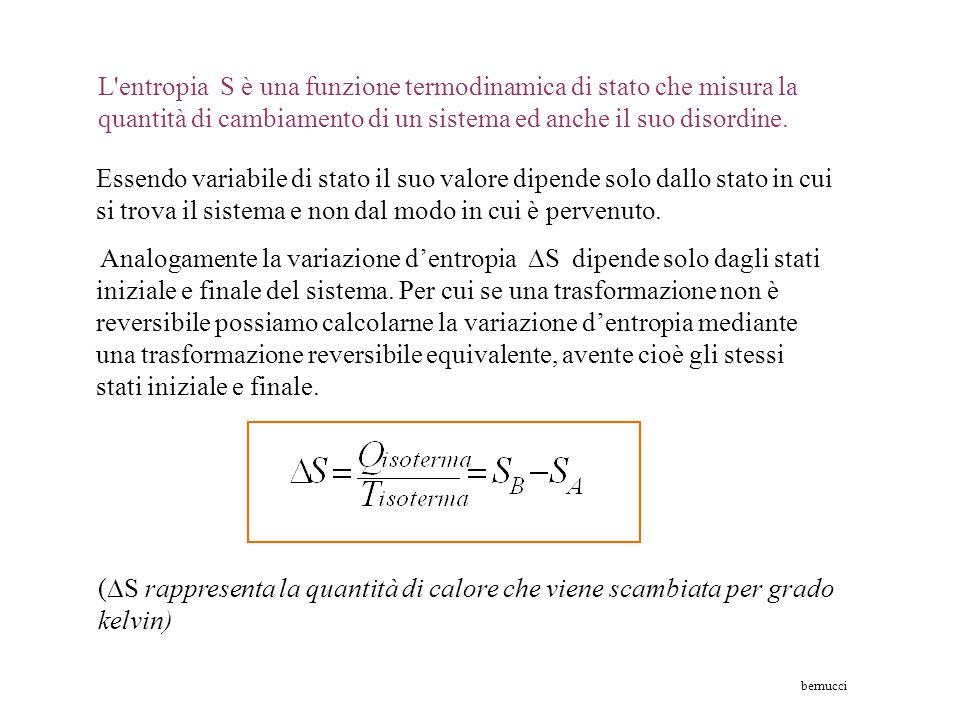 L entropia S è una funzione termodinamica di stato che misura la quantità di cambiamento di un sistema ed anche il suo disordine.