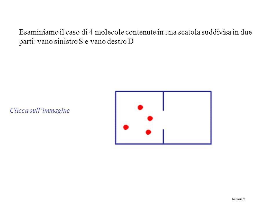 Esaminiamo il caso di 4 molecole contenute in una scatola suddivisa in due parti: vano sinistro S e vano destro D