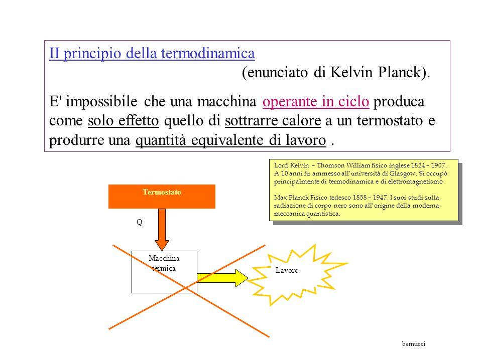 II principio della termodinamica (enunciato di Kelvin Planck).