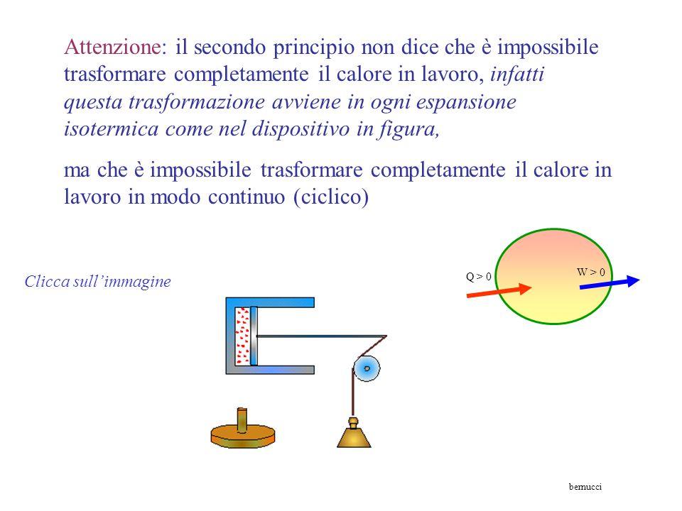 Attenzione: il secondo principio non dice che è impossibile trasformare completamente il calore in lavoro, infatti questa trasformazione avviene in ogni espansione isotermica come nel dispositivo in figura,