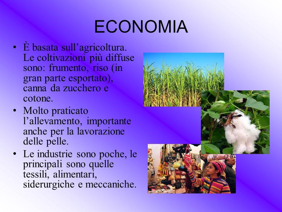 ECONOMIA È basata sull'agricoltura. Le coltivazioni più diffuse sono: frumento, riso (in gran parte esportato), canna da zucchero e cotone.