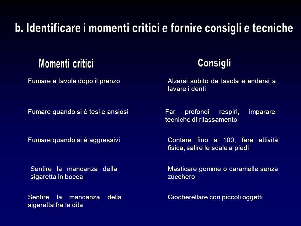 b. Identificare i momenti critici e fornire consigli e tecniche