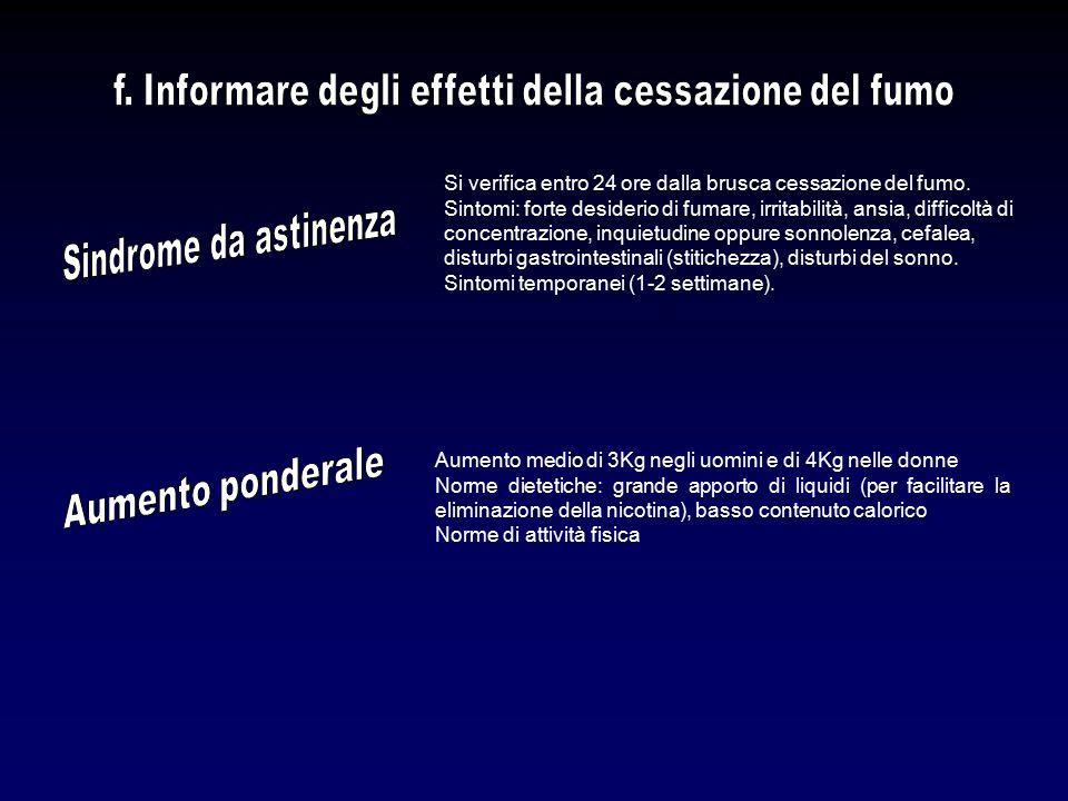 f. Informare degli effetti della cessazione del fumo