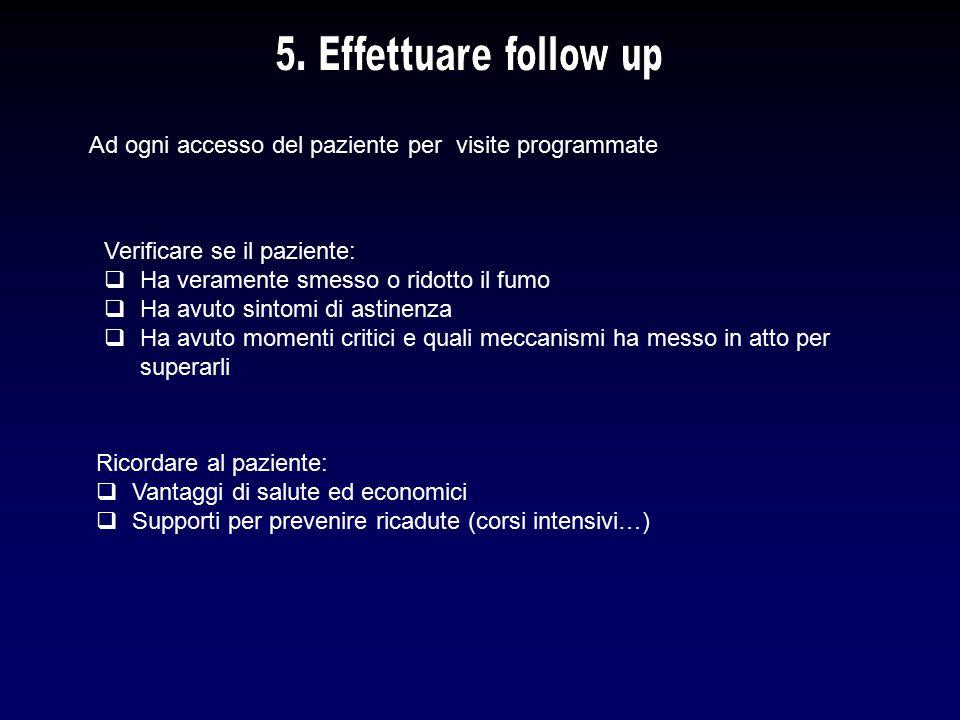 5. Effettuare follow up Ad ogni accesso del paziente per visite programmate. Verificare se il paziente:
