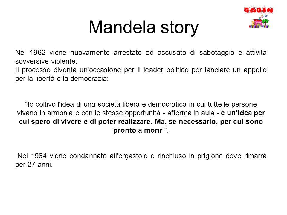Mandela story Nel 1962 viene nuovamente arrestato ed accusato di sabotaggio e attività sovversive violente.