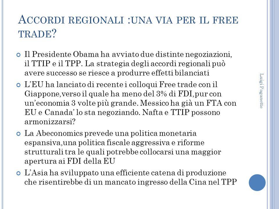 Accordi regionali :una via per il free trade