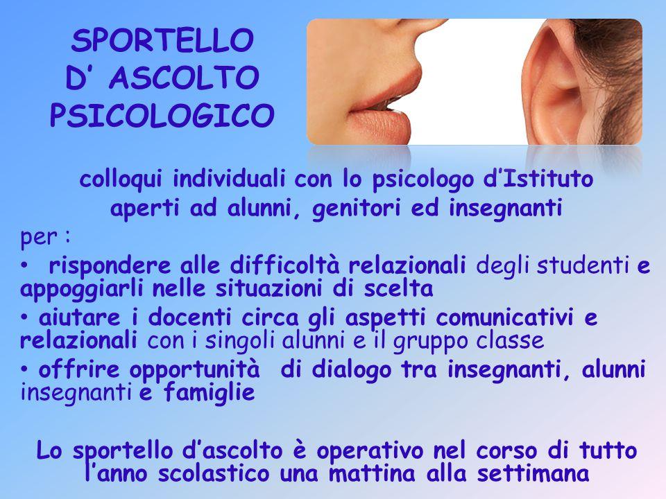 SPORTELLO D' ASCOLTO PSICOLOGICO