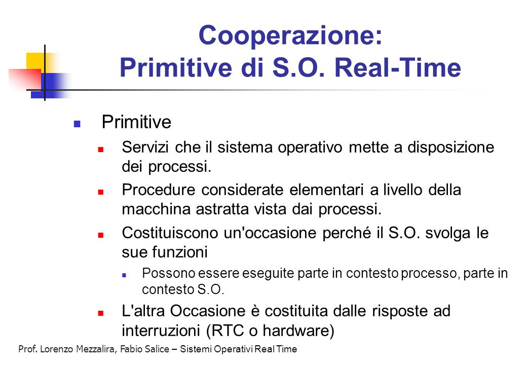 Cooperazione: Primitive di S.O. Real-Time