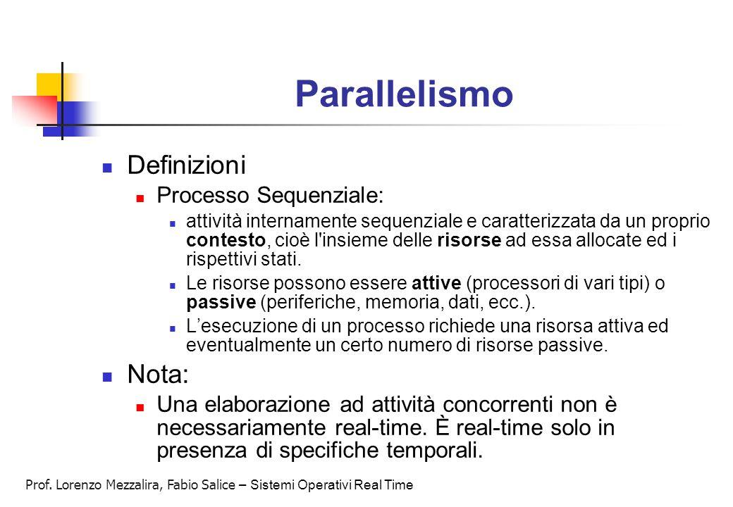 Parallelismo Definizioni Nota: Processo Sequenziale: