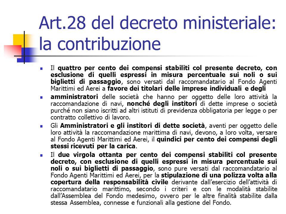 Art.28 del decreto ministeriale: la contribuzione