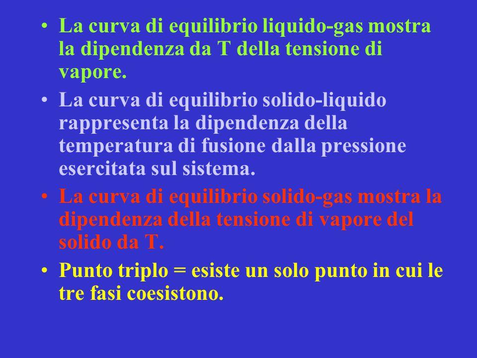 La curva di equilibrio liquido-gas mostra la dipendenza da T della tensione di vapore.
