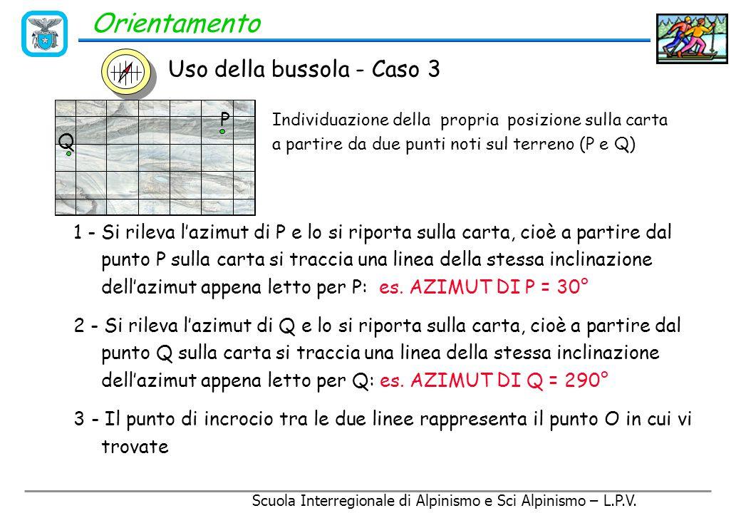 Orientamento Uso della bussola - Caso 3 P Q O