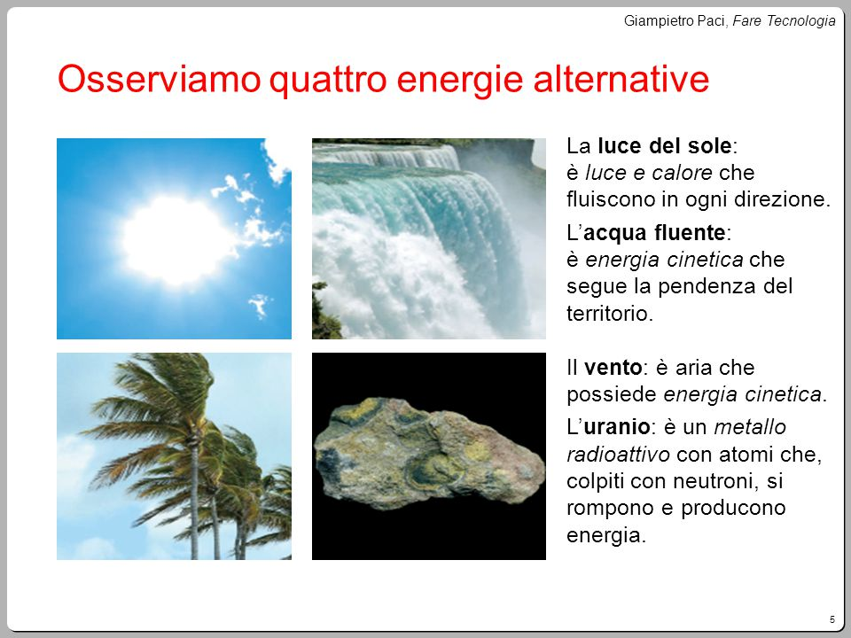 Osserviamo quattro energie alternative
