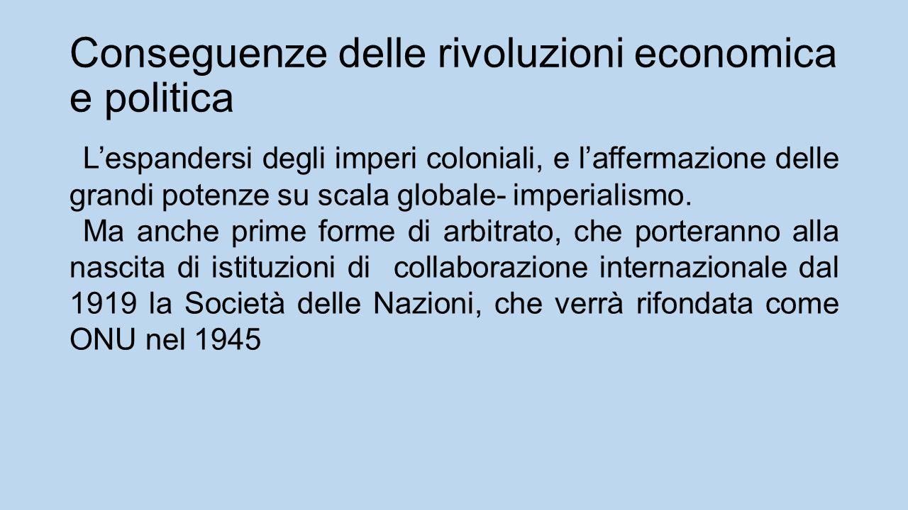 Conseguenze delle rivoluzioni economica e politica