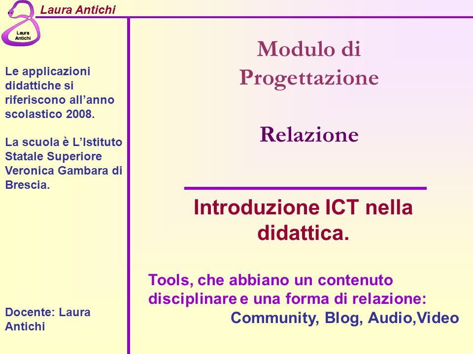 Modulo di Progettazione Introduzione ICT nella didattica.