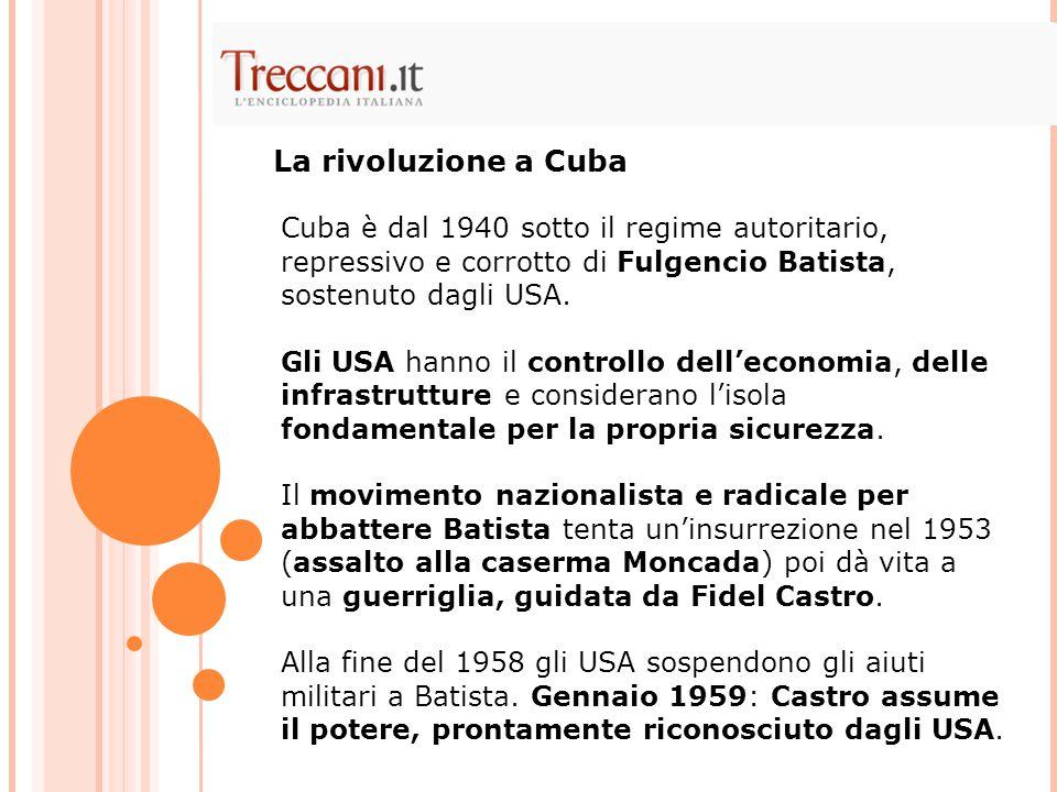 La rivoluzione a Cuba Cuba è dal 1940 sotto il regime autoritario, repressivo e corrotto di Fulgencio Batista, sostenuto dagli USA.