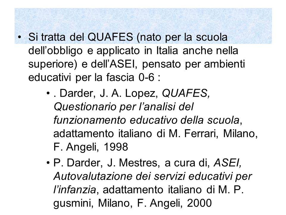 Si tratta del QUAFES (nato per la scuola dell'obbligo e applicato in Italia anche nella superiore) e dell'ASEI, pensato per ambienti educativi per la fascia 0-6 :