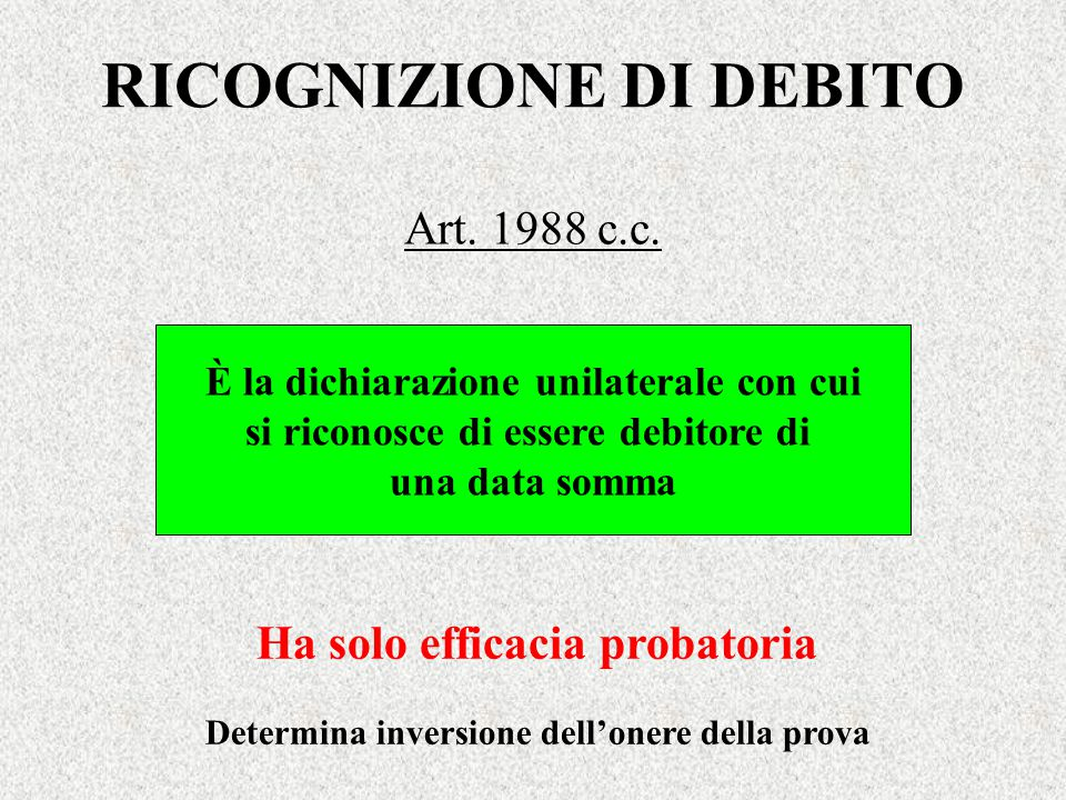 RICOGNIZIONE DI DEBITO