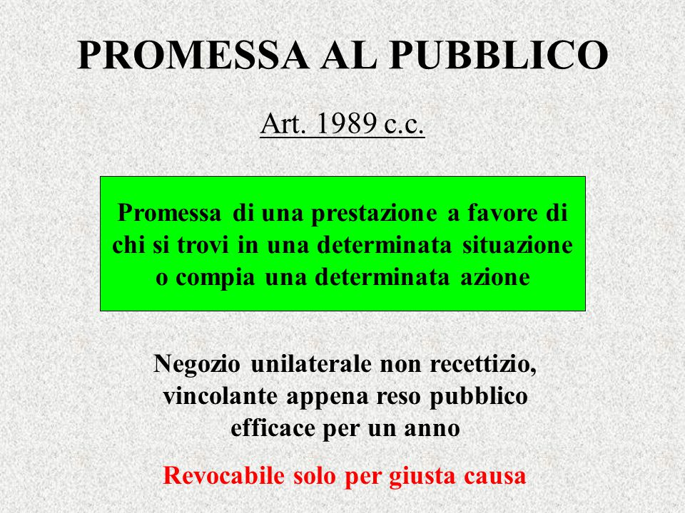 PROMESSA AL PUBBLICO Art. 1989 c.c.