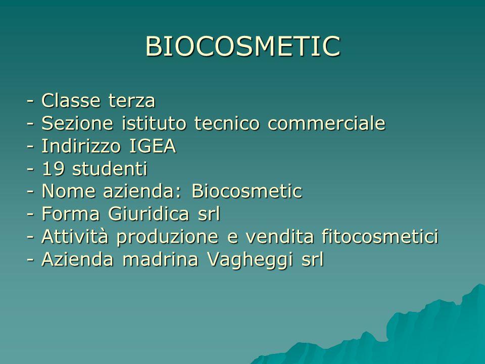 BIOCOSMETIC - Classe terza - Sezione istituto tecnico commerciale