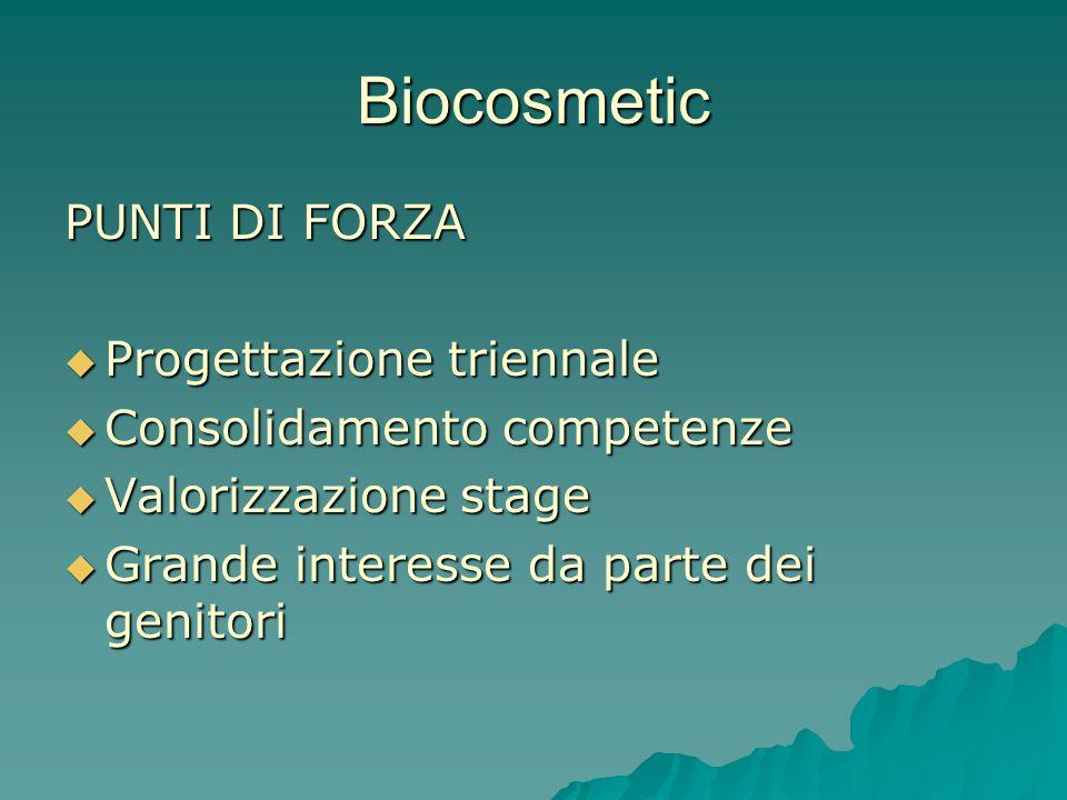 Biocosmetic PUNTI DI FORZA Progettazione triennale