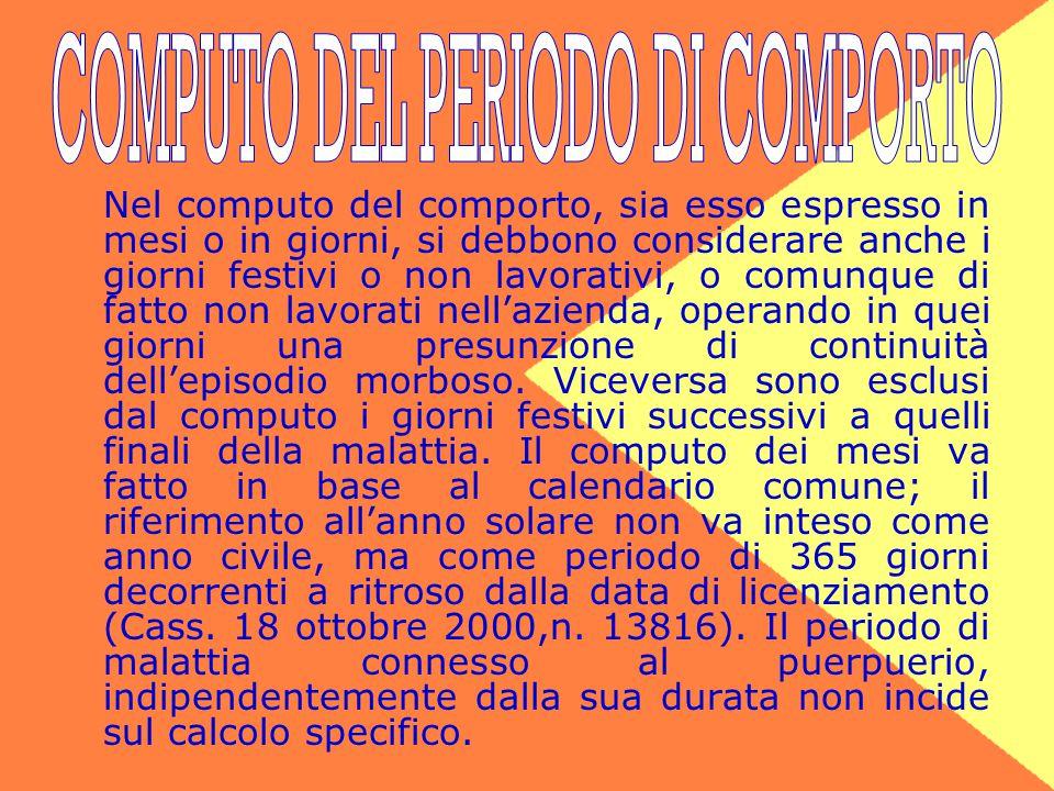 COMPUTO DEL PERIODO DI COMPORTO