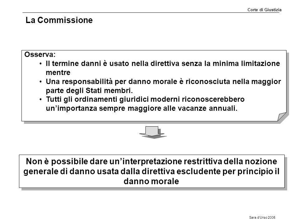 Corte di Giustizia La Commissione. Osserva: Il termine danni è usato nella direttiva senza la minima limitazione mentre.