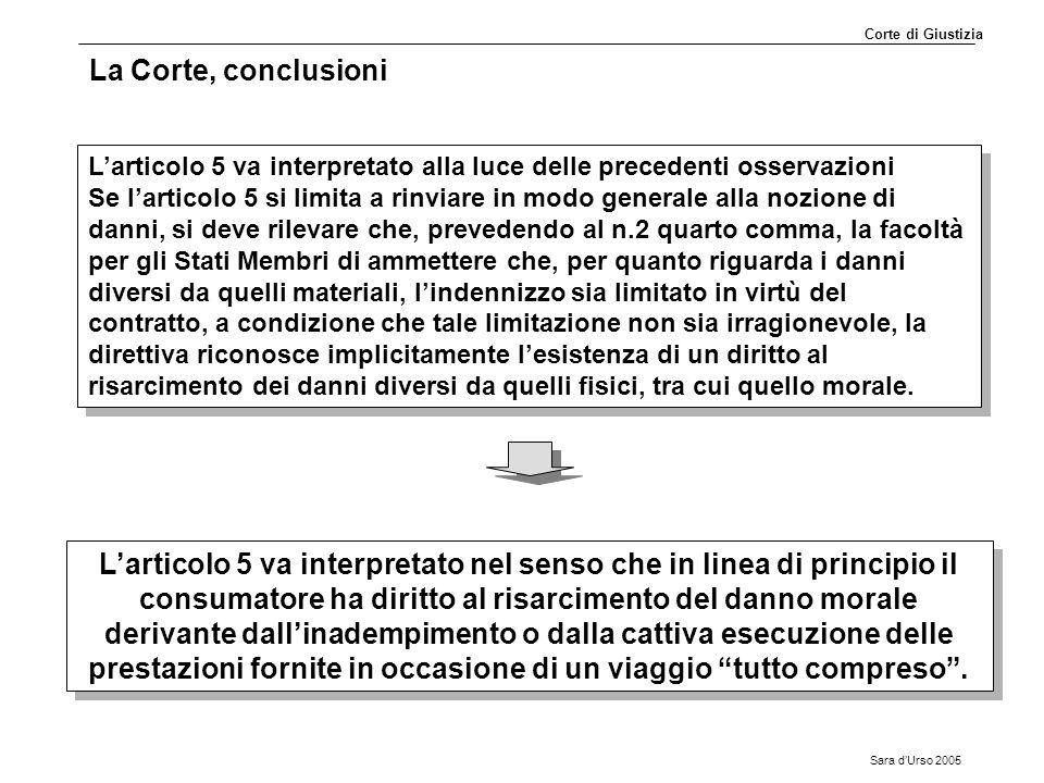 Corte di Giustizia La Corte, conclusioni. L'articolo 5 va interpretato alla luce delle precedenti osservazioni.