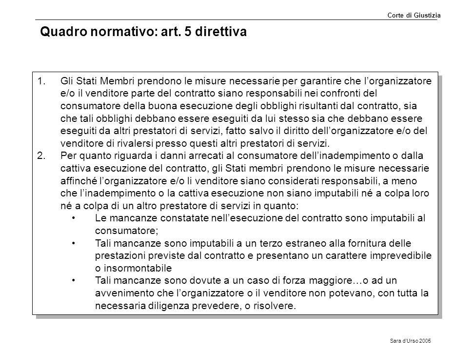 Quadro normativo: art. 5 direttiva