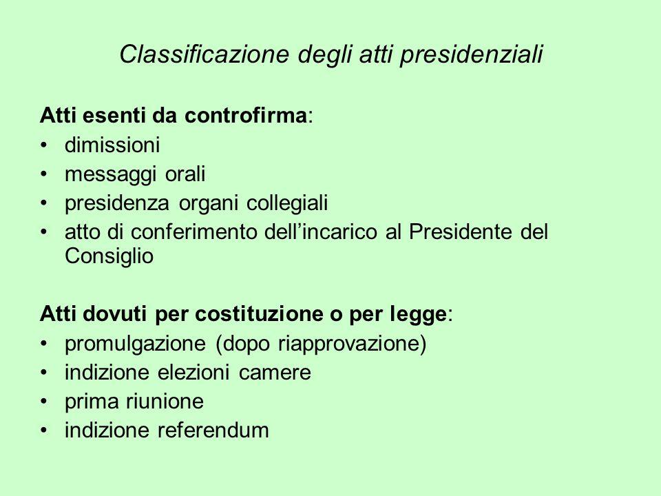Classificazione degli atti presidenziali