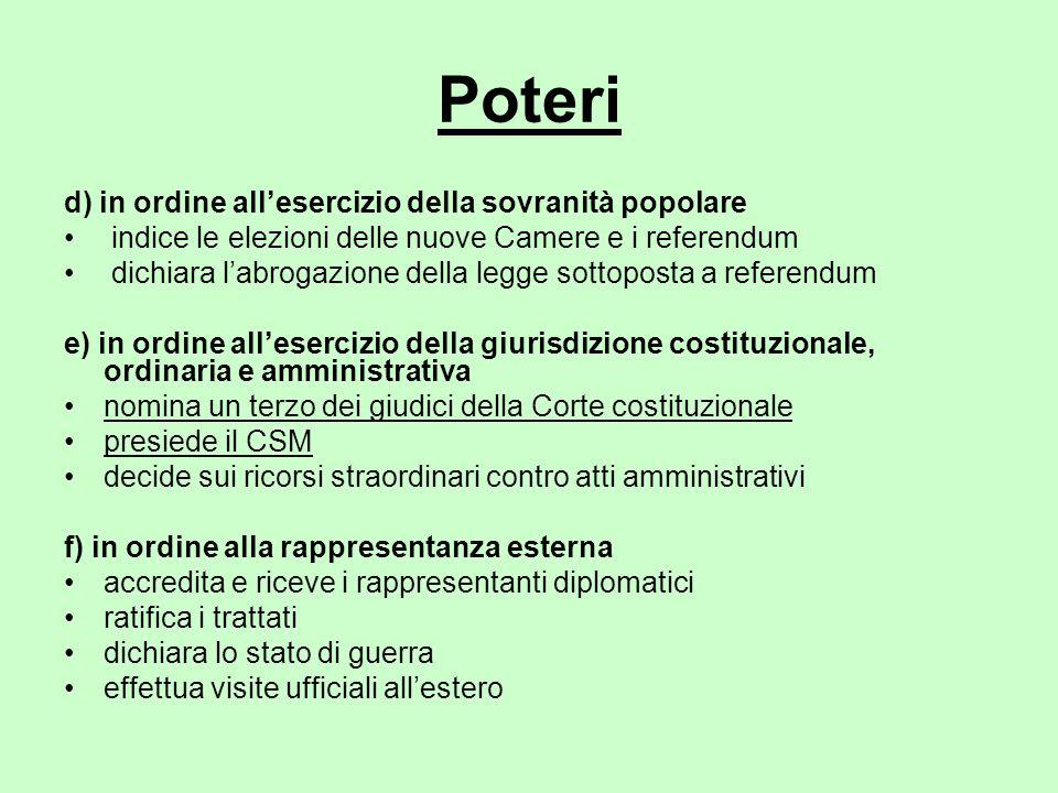 Poteri d) in ordine all'esercizio della sovranità popolare