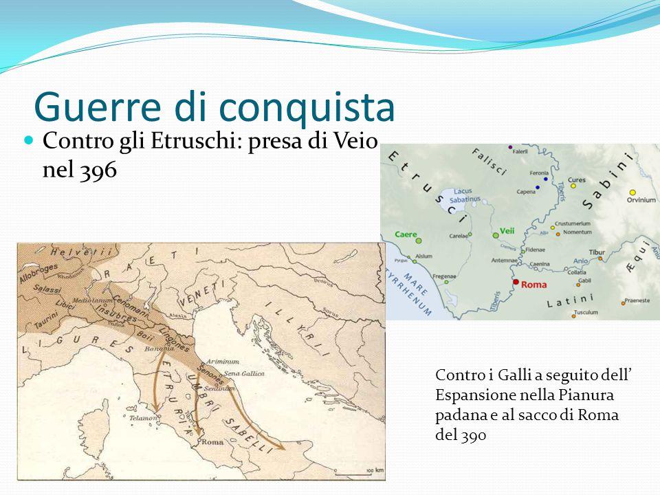 Guerre di conquista Contro gli Etruschi: presa di Veio nel 396