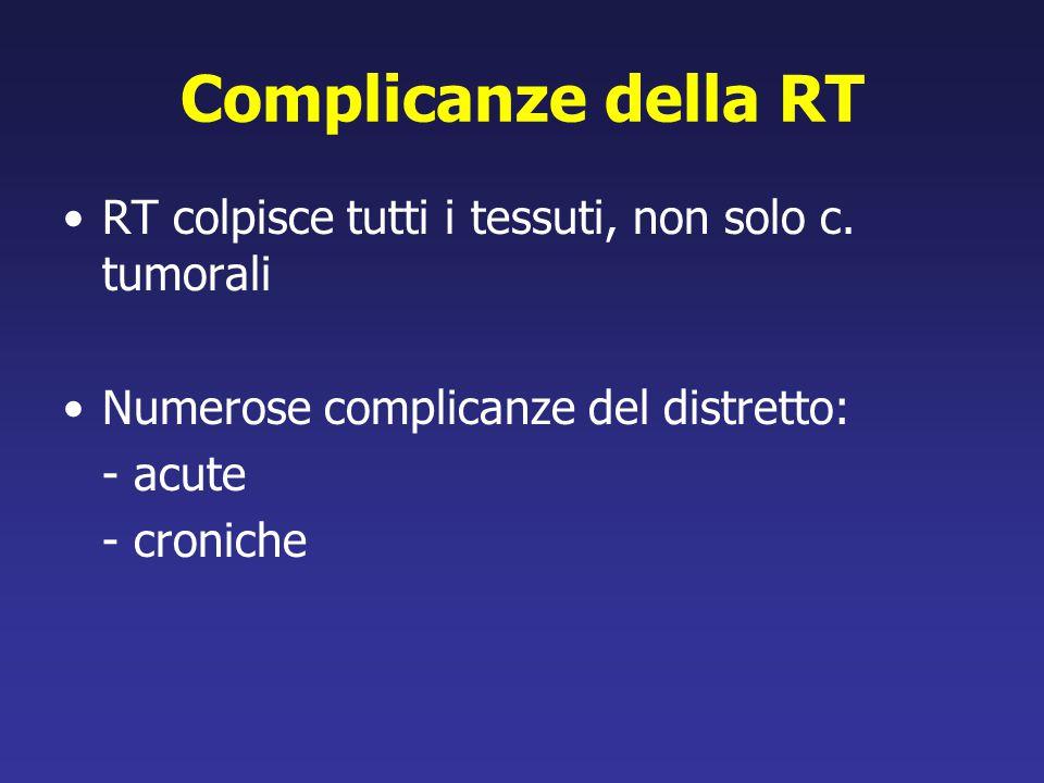 Complicanze della RT RT colpisce tutti i tessuti, non solo c. tumorali
