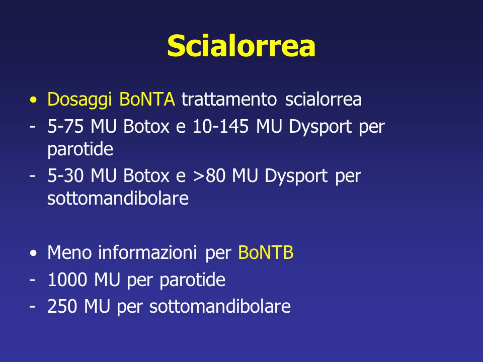 Scialorrea Dosaggi BoNTA trattamento scialorrea