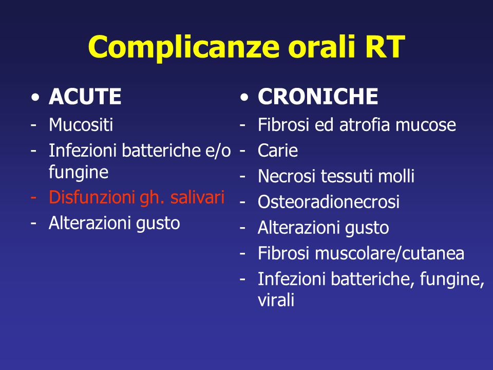 Complicanze orali RT ACUTE CRONICHE Mucositi