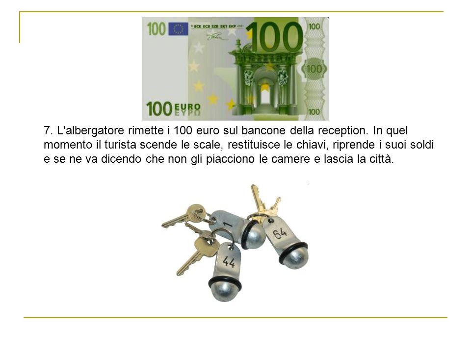 7. L albergatore rimette i 100 euro sul bancone della reception