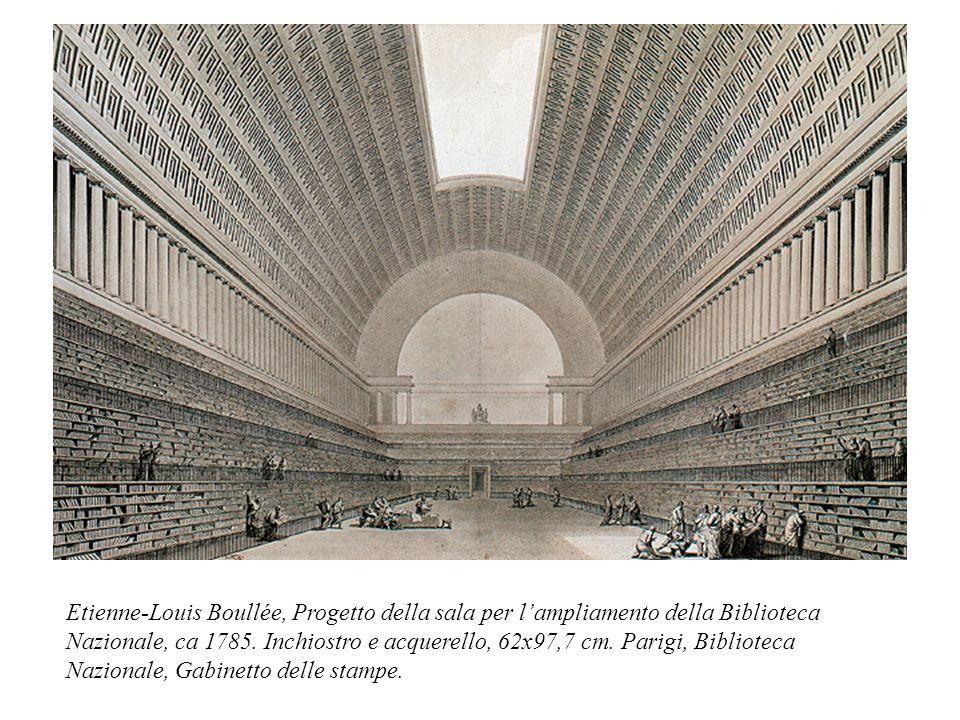 Etienne-Louis Boullée, Progetto della sala per l'ampliamento della Biblioteca Nazionale, ca 1785.
