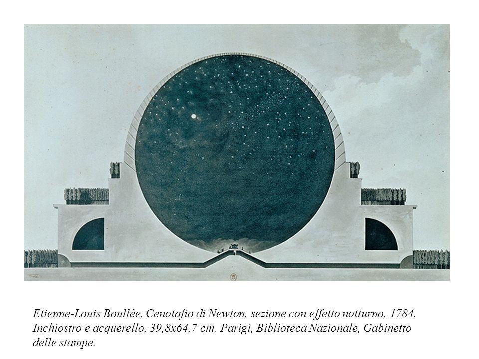 Etienne-Louis Boullée, Cenotafio di Newton, sezione con effetto notturno, 1784.