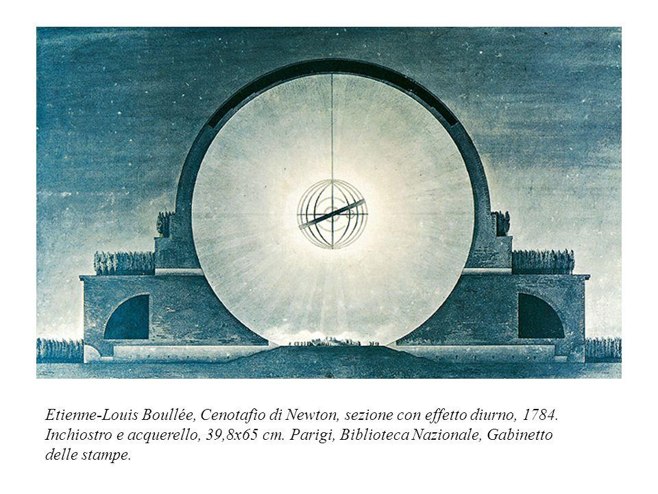 Etienne-Louis Boullée, Cenotafio di Newton, sezione con effetto diurno, 1784.