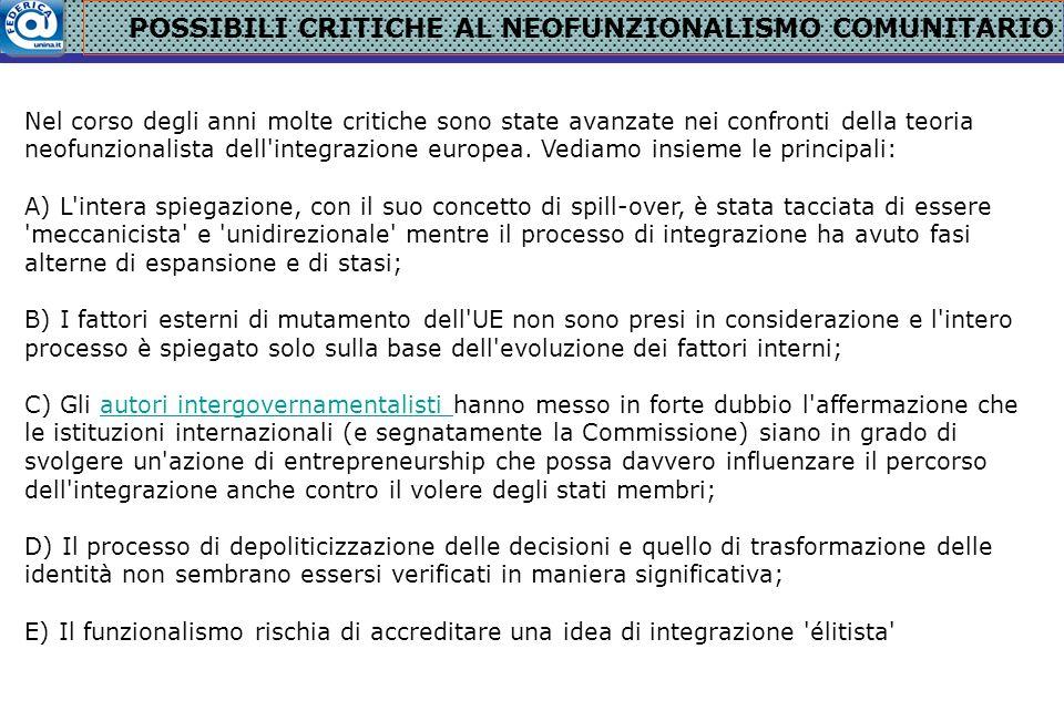 POSSIBILI CRITICHE AL NEOFUNZIONALISMO COMUNITARIO