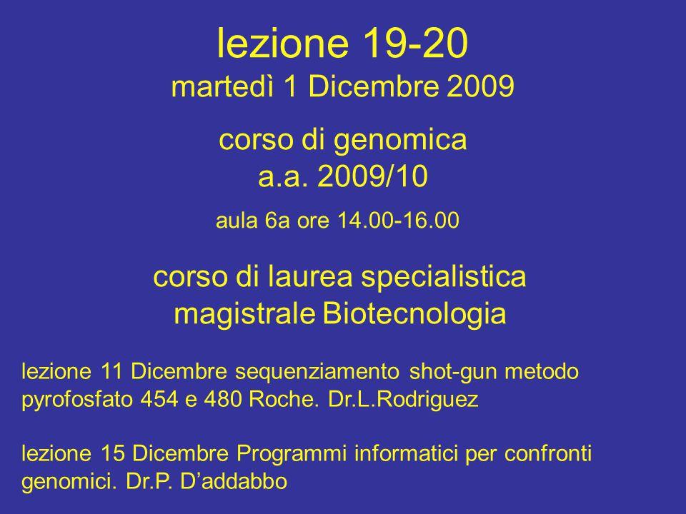 lezione 19-20 martedì 1 Dicembre 2009