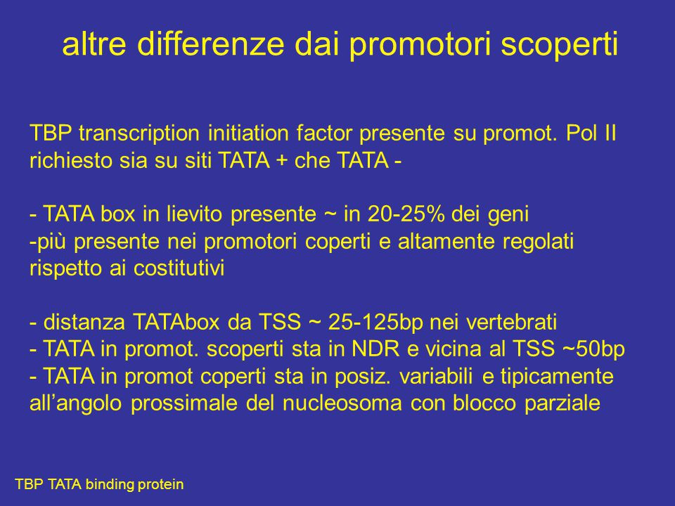 altre differenze dai promotori scoperti
