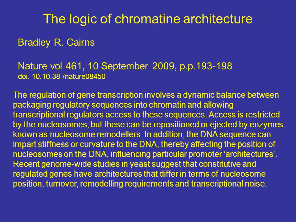 The logic of chromatine architecture