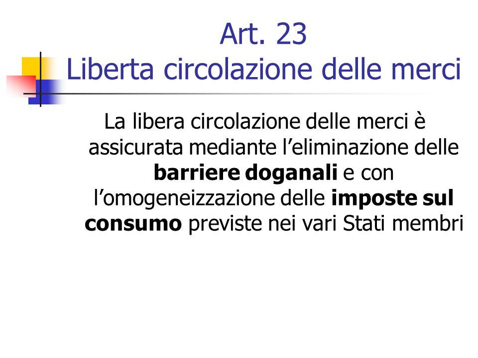 Art. 23 Liberta circolazione delle merci