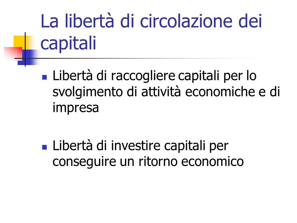 La libertà di circolazione dei capitali