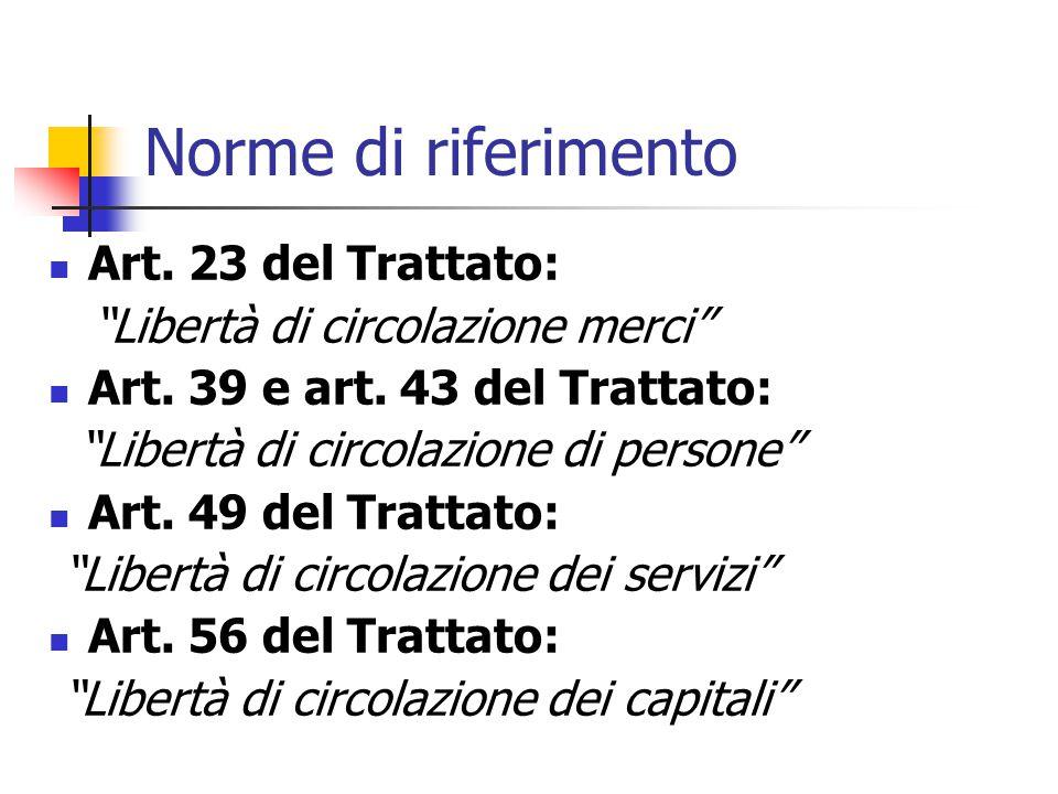 Norme di riferimento Art. 23 del Trattato: