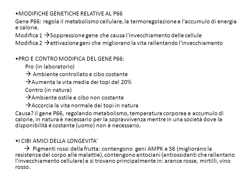 MODIFICHE GENETICHE RELATIVE AL P66