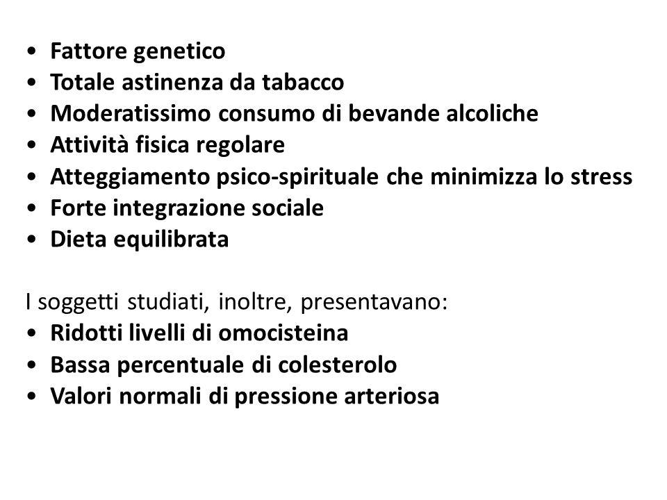 Fattore genetico Totale astinenza da tabacco. Moderatissimo consumo di bevande alcoliche. Attività fisica regolare.